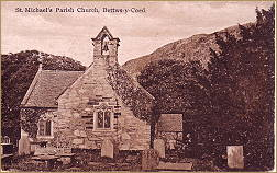 old postcard of st michaels church, betws-y-coed