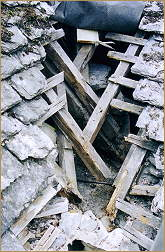rotten timbers at church in betws-y-coed
